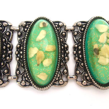 Green Gold Confetti Lucite Bracelet, Selro Style, Wide Chunky Vintage