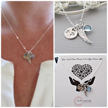 Memorial Gift, Sympathy Gift, Angel Wing, Necklace, Personalized Gift, Pet memorial, Loss of Pet