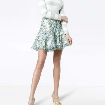 Becky Blue Floral Mini Skirt