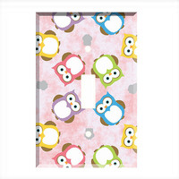 Light Switch Cover - Light Switch Plate Owls on Pink