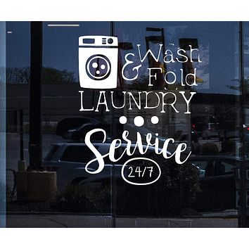 Window Vinyl Decal Wall Sticker Sign Laundry Dry Cleaning Service Washing Machine Unique Gift n899w