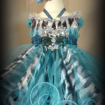 Made to Order Glitz Pageant Snow Leopard Babydoll Formal Special Occasion