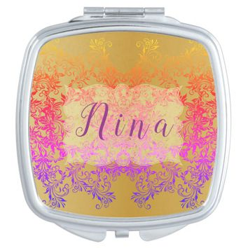 Decorative Baroque Damask Gradients Ornaments Compact Mirror