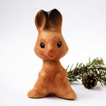 Vintage Brown Rabbit / Cute Soviet Collectable Rubber Squeaky Hare / 1970's - 1980's Russian Kitsch Woodland Animal Toy / NEW OLD STOCK