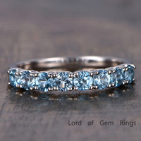 Blue Topaz Wedding Band Half Eternity Anniversary Ring 14K White Gold