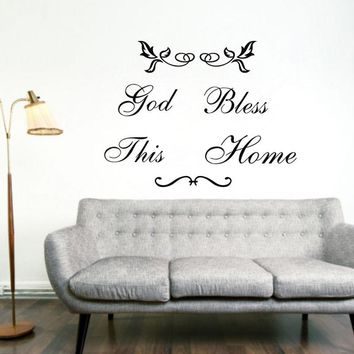 large size god bless this home art Vinyl Wall Quote stickers home decor decals free shipping,q0011