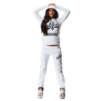Stylish women letter pattern long sleeve hoodie sport pants tracksuit sweat suit top and pants set = 1838456196
