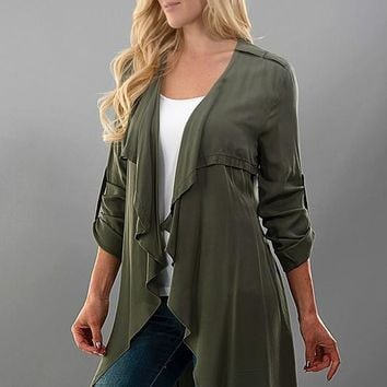 Olive Long Cardigan With Roll Up Sleeve
