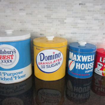 Vibrant Vintage Litho Tin Canister Set: J.L. Clark Pillsbury's Best - Domino Sugar, Maxwell House, Lipton
