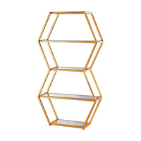 1114-208 Vanguard Book Shelf In Gold Leaf And Clear Mirror - Free Shipping!
