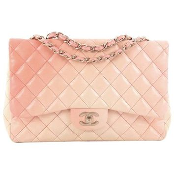 Chanel Classic Single Flap Degrade Handbag Quilted Lambskin Jumbo
