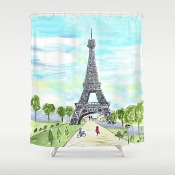 Paris France Shower Curtain -  City Sketch Paris art, Eiffel Tower