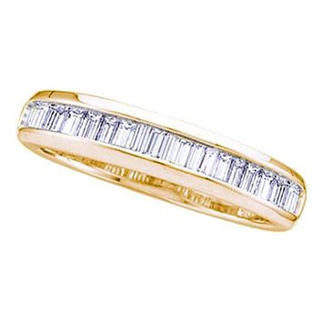 14kt Yellow Gold Women's Baguette Diamond Wedding Anniversary Band Ring 1/6 Cttw - FREE Shipping (US/CAN)