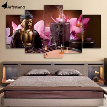 5 Piece Canvas Buddha Wall Art Frame Spa Painting