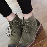 Green Lace Up Chunky Ankle Boots