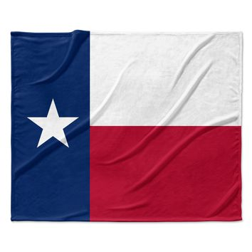 "Bruce Stanfield ""Texas Flag"" Red Blue Fleece Throw Blanket"