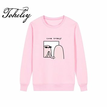KPOP BTS Bangtan Boys Army  new Style Women Hoodies Sweatshirts Humor Cartoon printing loose outwear round neck Hip-Hop Boy girl Clothes thick style AT_89_10