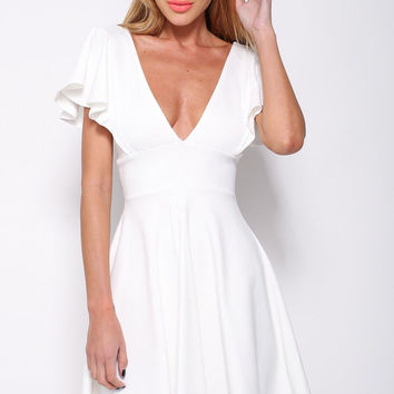 White Ruffled Sleeve A-line Mini Skater Dress