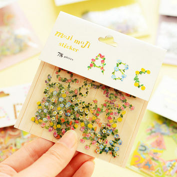 Flake Sticker Flower Alphabet Stickers Floral Letters DIY Scrapbook Album Decoration Adhesive Diary Schedule Planner Stickers