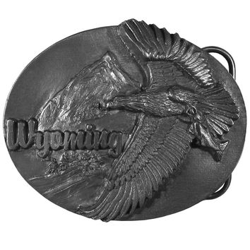 Sports Accessories - Wyoming Eagle  Antiqued Belt Buckle