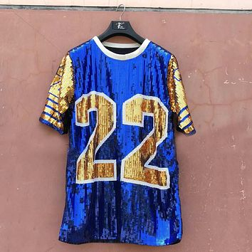 Sequin Long O Neck T shirt Party Club Top Loose Clothes Blue gold number 22 Sorority SGR Sequin T Shirt Clothing