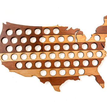 US Beer Cap Map Two Tone Stripes - Holds Craft Beer Bottle Caps - Great for Man Cave or Guy Gifts