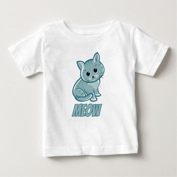Teal Blue Cute Cat T-Shirt