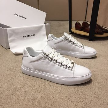 Balenciaga Men's Leather Fashion Low Top Sneakers Shoes