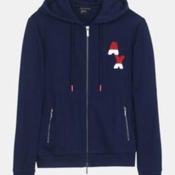 Armani Exchange BICOLOR LOGO ZIP HOODIE, Fleece Jacket for Women | A|X Online Store