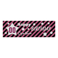ANY YEAR Birthday Star Banner PINK STRIPES STARS 4 Posters