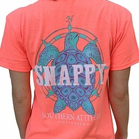 Southern Attitude Preppy Snappy Turtle Nautical Coral T-Shirt
