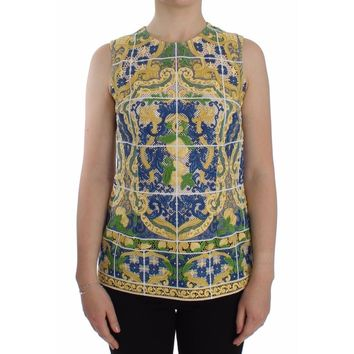 Dolce & Gabbana Multicolor Majolica Embroidered Sweater