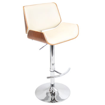 Santi Bar Stool Walnut + Cream Pu