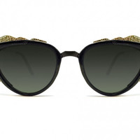 Protopunk Sunglasses - Black with Gold Trim from Spitfire Sunglasses