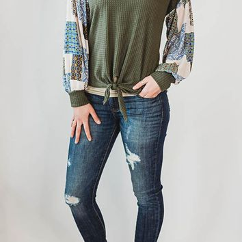 Printed Sleeve Top - Olive