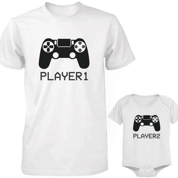 Daddy and Baby Matching White T-Shirt / Onesuit Combo - Player1 and Player2