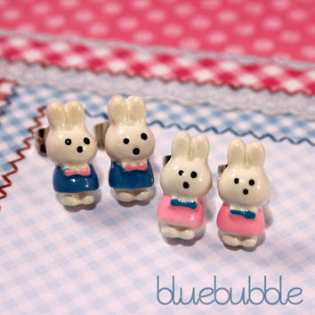FUNKY SMALL MINI BUNNY RABBIT STUD EARRINGS CUTE KITSCH RETRO KAWAII SWEET PARTY