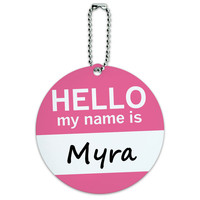 Myra Hello My Name Is Round ID Card Luggage Tag