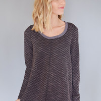 Crystal Rib Knit Top Plum