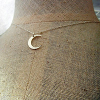 Silver Moon Necklace - MIDNIGHT Brushed Sterling Silver Crescent Moon Necklace