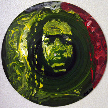"Painted Record 12"", Peter Tosh, Painting on Records, Music Art, Island Art, Island Decor, Reggae Art, Jamaica, Rastafari"
