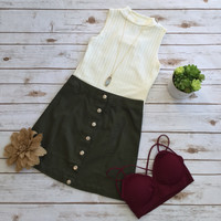 Olive Button Up Skirt