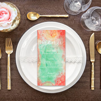 Coral and Mint Wedding Menu Card - PRINTABLE Menu - Digital File