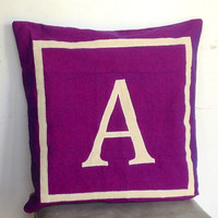 Euro Pillows Monogram Personalized monogramed 26 inch purple shams -customized letter cushion cover-floor cushions