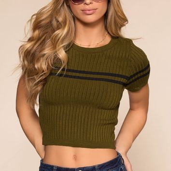 Sheree Knit Crop Top - Olive