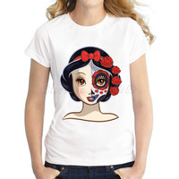 Women's Snow White Princess cartoon design sugar skull Printed T shirt short sleeve casual lady slim hipster fashion tops/tee