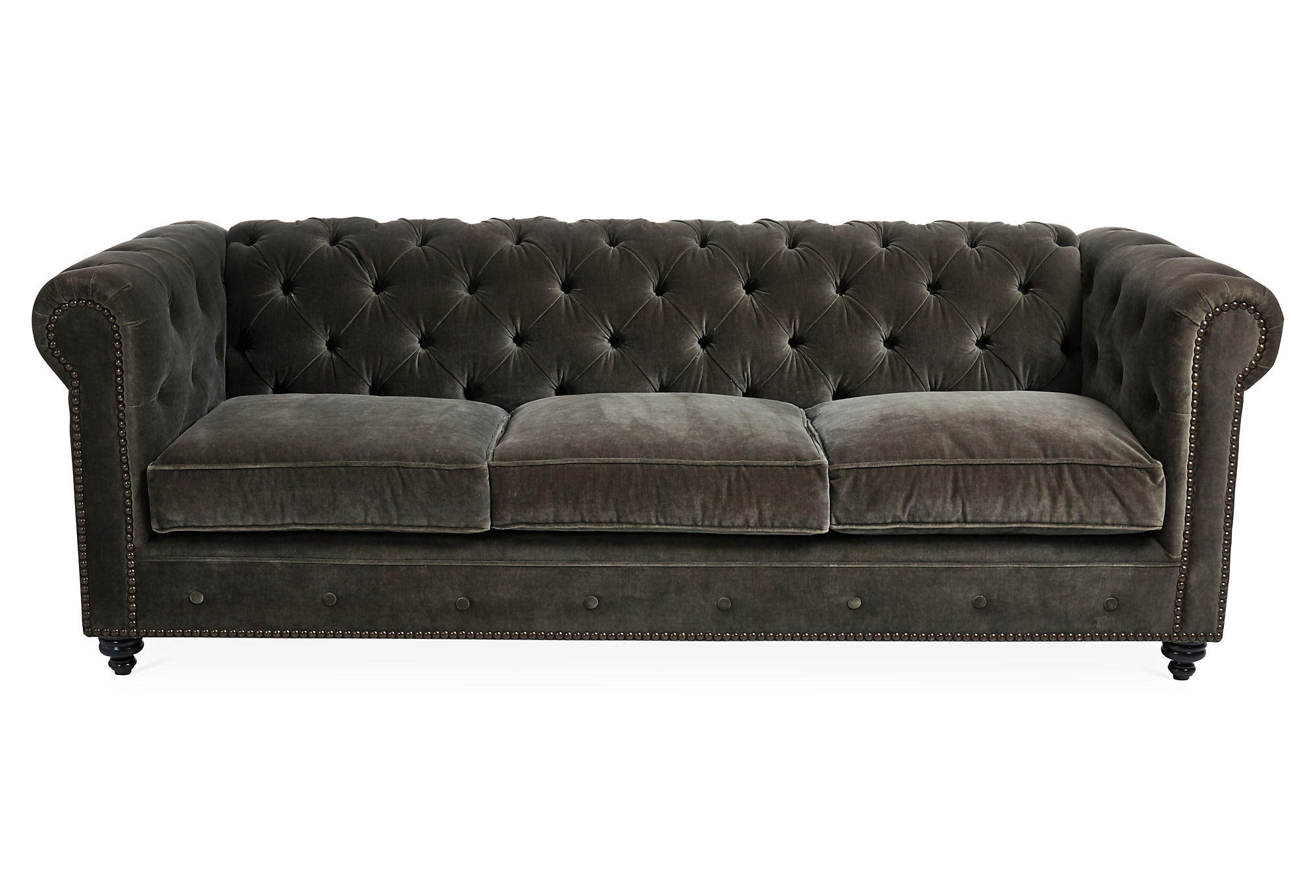 ralph 96 quot  tufted velvet sofa  dark gray  from one kings lane tufted velvet sofa furniture Black Velvet Tufted Sofa