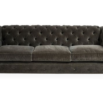 "Ralph 96"" Tufted Velvet Sofa, Dark Gray, Sofas & Loveseats"