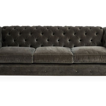 Ralph 96 Tufted Velvet Sofa Dark Gray Sofas Loveseats