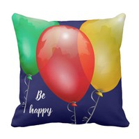 Colorful toy balloons funny keep calm be happy throw pillow